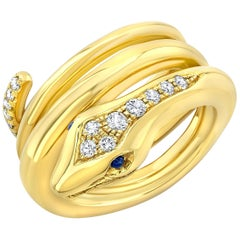 Amy Y 18 Karat Gold, Diamond and Sapphire Contemporary Serpent Ring 'Jose'