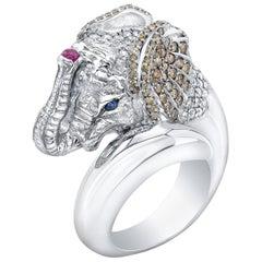 Amy Y 18 Karat, Diamond and Ruby Contemporary Safari Elephant Ring 'Baako'
