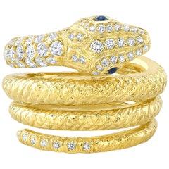 Amy Y 18 Karat, Diamond and Sapphire Contemporary Serpent Ring 'Noah'