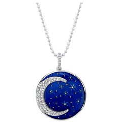 Amy Y 18K, Diamond, Enamel Contemporary Pendant Necklace Midnight Crescent Moon