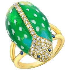 Amy Y Contemporary Liam Diamond Sapphire Painted Enamel  Scarab Ring