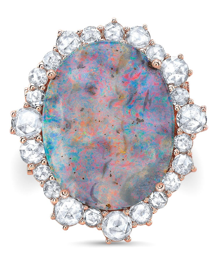 Amy Y 18K Gold Australian Boulder Opal and Diamond Contemporary Ring 'Lily' In New Condition For Sale In Santa Monica, CA