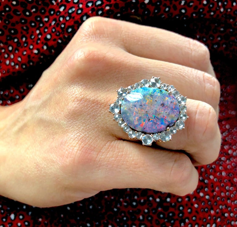 Women's Amy Y 18K Gold Australian Boulder Opal and Diamond Contemporary Ring 'Lily' For Sale