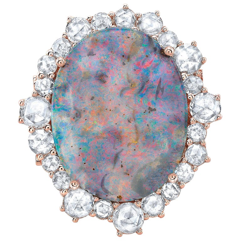 Amy Y 18K Gold Australian Boulder Opal and Diamond Contemporary Ring 'Lily' For Sale