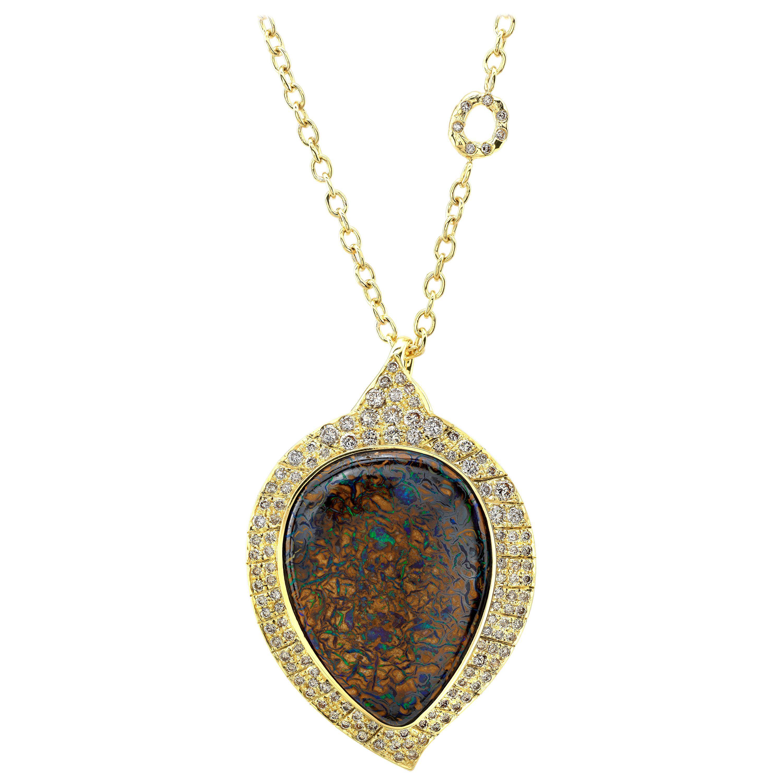 Amy Y 18K Gold, Australian Boulder Opal and Diamond Pendant Necklace 'Aspen'