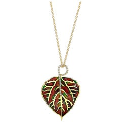 Amy Y 18K Gold, Diamond and Enamel Contemporary Pendant/Necklace 'Aspen Leaf'