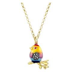 18 Karat Gold, Diamond and Enamel Rainbow Baby Bird Pendant Necklace 'Tweety'