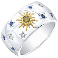Amy Y 18 Karat Gold, Diamond and Sapphire Sun, Moon and Stars Ring 'Celeste'