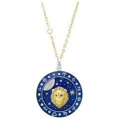 Amy Y 18K Gold, Diamond, Enamel Contemporary Pendant Necklace Leo Zodiac 'Noah'