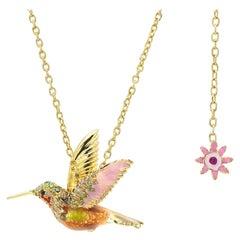 18 Karat Gold, Diamond, Precious Gem and Enamel Hummingbird Pendant Necklace