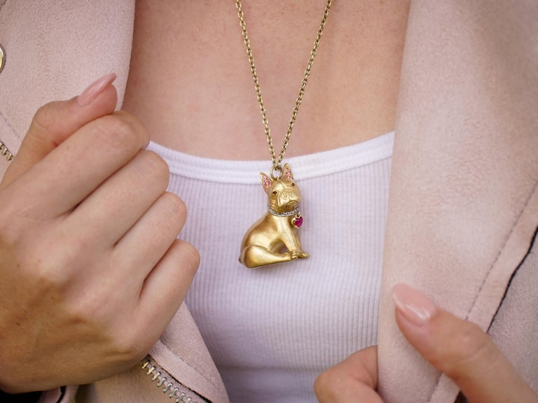 Amy Y's 18K-yellow gold, diamond, pink sapphire, ruby, and carnelian pendant necklace is a one-of-a-kind heirloom. This French bulldog is sure to capture your heart with true-to-life realism. Handmade by Amy's esteemed European artisans in