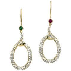 Amy Y 18K Gold, Diamond, Ruby, Emerald  Serpent Hoop Earring 'Harper and Jade'