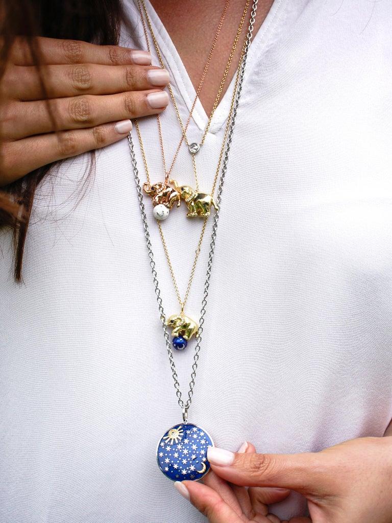 Round Cut 18 Karat Gold, Diamond, Sapphire and Enamel Elephant Pendant Necklace 'Ruby' For Sale