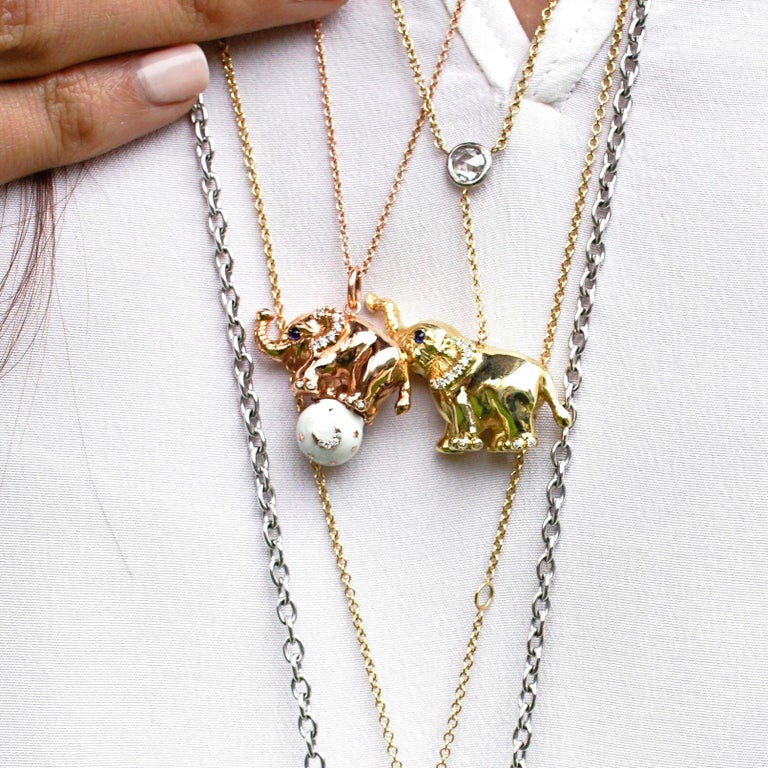 18 Karat Gold, Diamond, Sapphire and Enamel Elephant Pendant Necklace 'Ruby' In New Condition For Sale In Santa Monica, CA