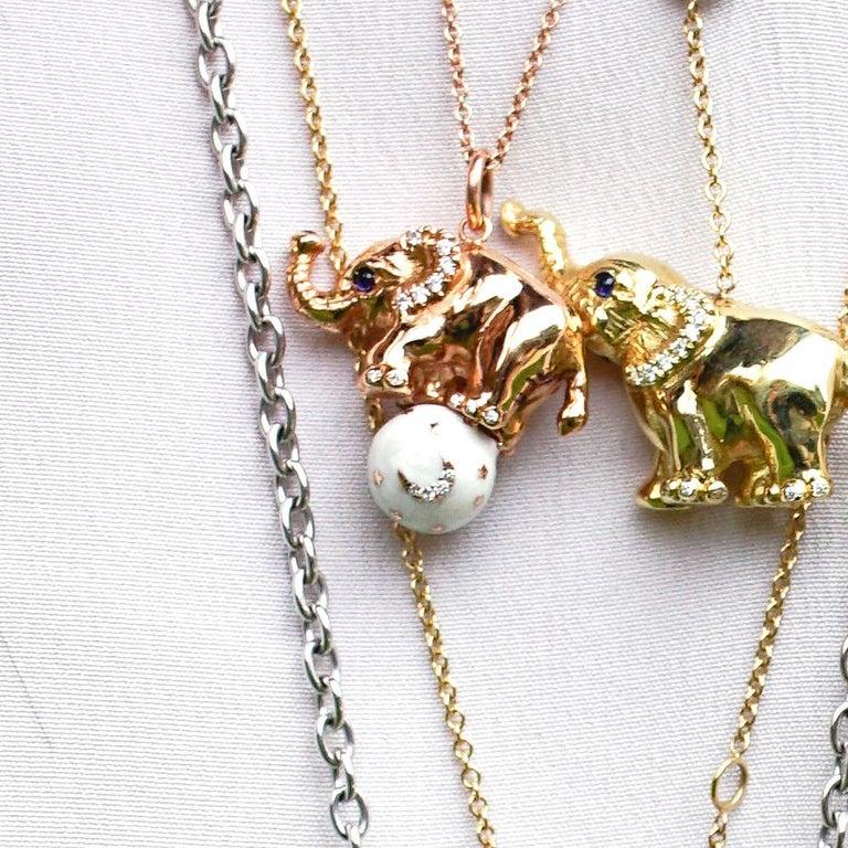 Women's 18 Karat Gold, Diamond, Sapphire and Enamel Elephant Pendant Necklace 'Ruby' For Sale