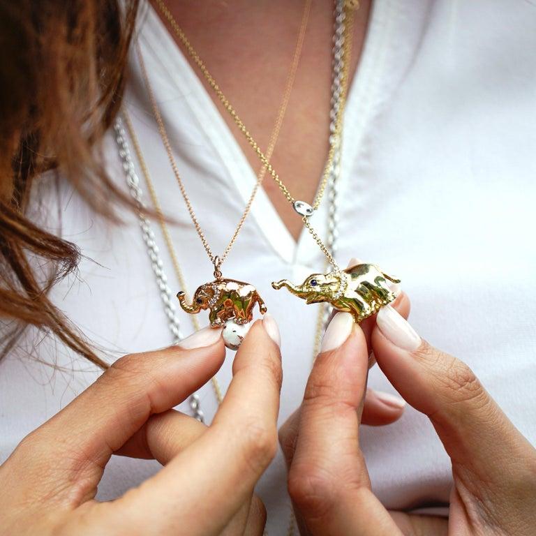 18 Karat Gold, Diamond, Sapphire and Enamel Elephant Pendant Necklace 'Ruby' For Sale 1