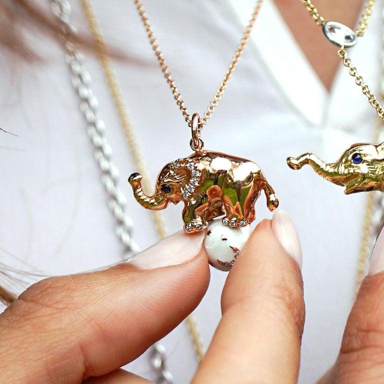 18 Karat Gold, Diamond, Sapphire and Enamel Elephant Pendant Necklace 'Ruby' For Sale 2