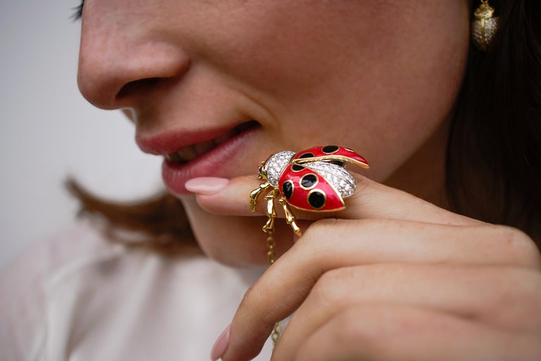 Round Cut 18 Karat Gold, Diamond, Sapphire and Enamel Ladybug Pendant Necklace 'Riley' For Sale