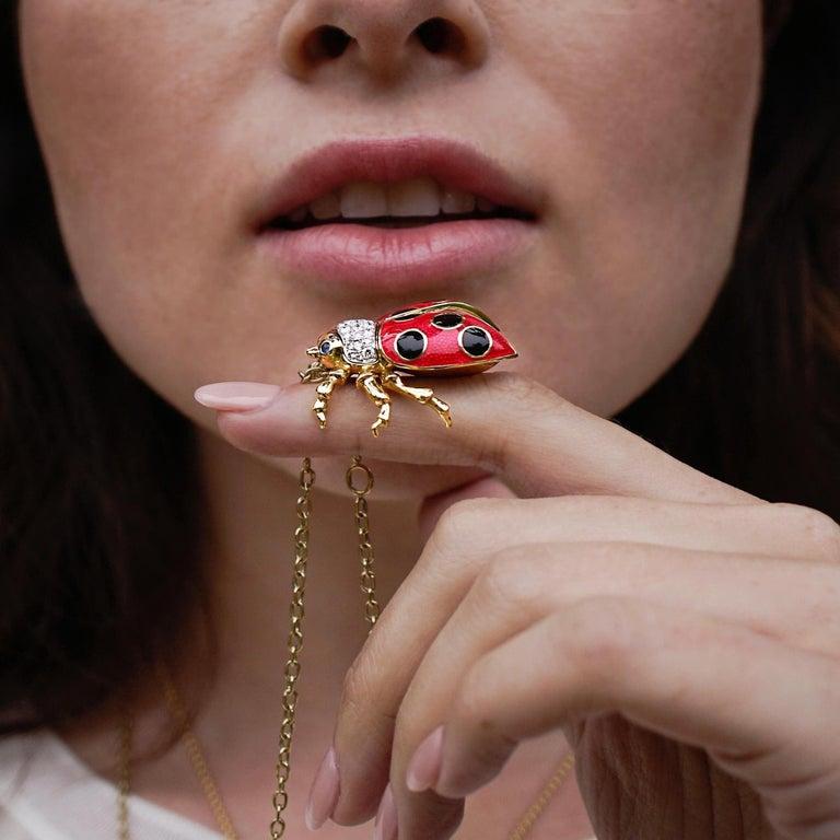 Women's 18 Karat Gold, Diamond, Sapphire and Enamel Ladybug Pendant Necklace 'Riley' For Sale