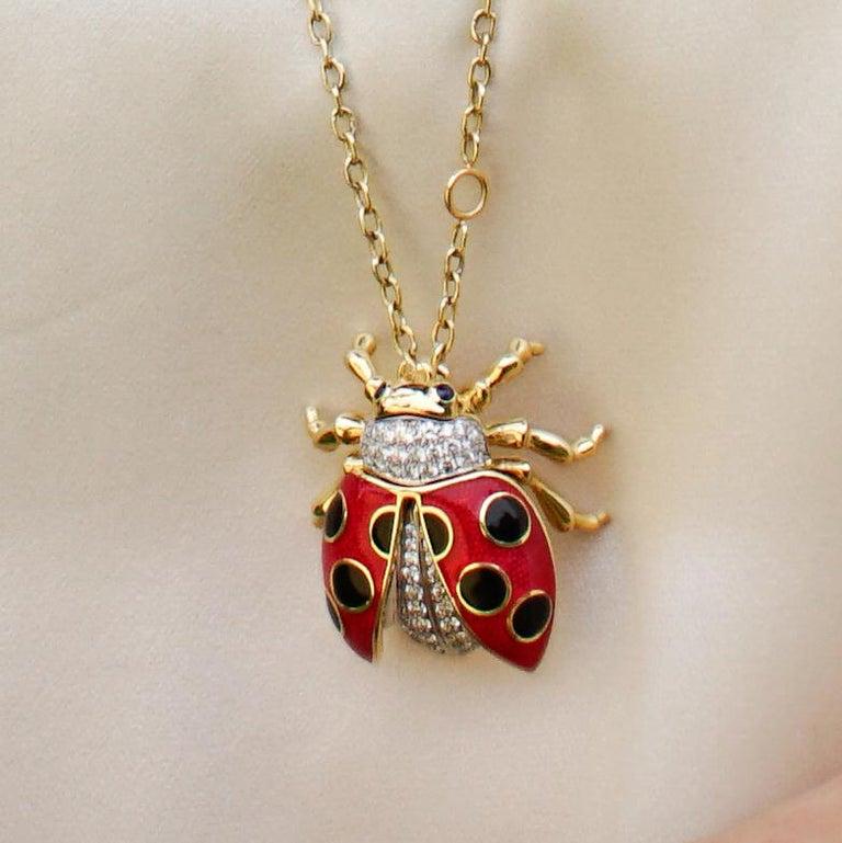 18 Karat Gold, Diamond, Sapphire and Enamel Ladybug Pendant Necklace 'Riley' For Sale 3