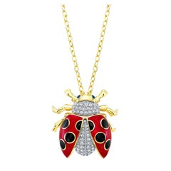 18 Karat Gold, Diamond, Sapphire and Enamel Ladybug Pendant Necklace 'Riley'