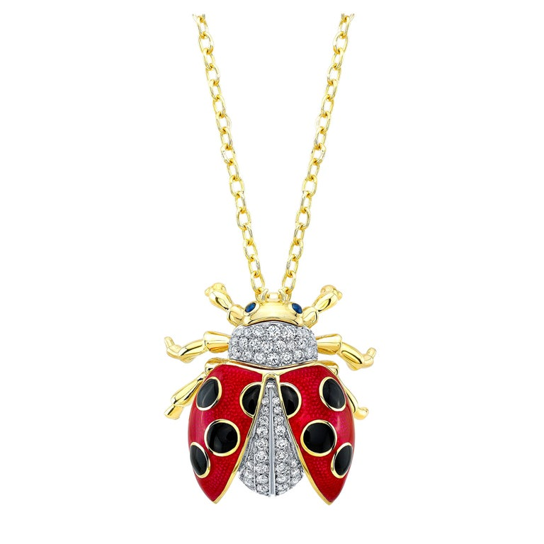 18 Karat Gold, Diamond, Sapphire and Enamel Ladybug Pendant Necklace 'Riley' For Sale