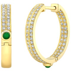 18 Karat Gold, Diamond, Sapphire, Ruby and Emerald Small Architect Hoop Earring
