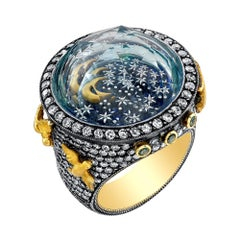 Amy Y 18K Gold, Diamond, Topaz, Painted Enamel Contemporary Ring 'Nightlight'