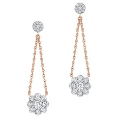 Amy Y 18k Gold, Platinum and Diamond Classic and Contemporary Earring 'Rose'