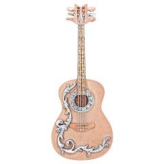 Amy Y 18 Karat Gold, Platinum and Diamond Encrused Guitar Pendant 'Life-vine'