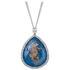 Amy Y 18K Gold, Platinum, Diamond, Blue Topaz Seahorse Pendant Necklace 'Aria'