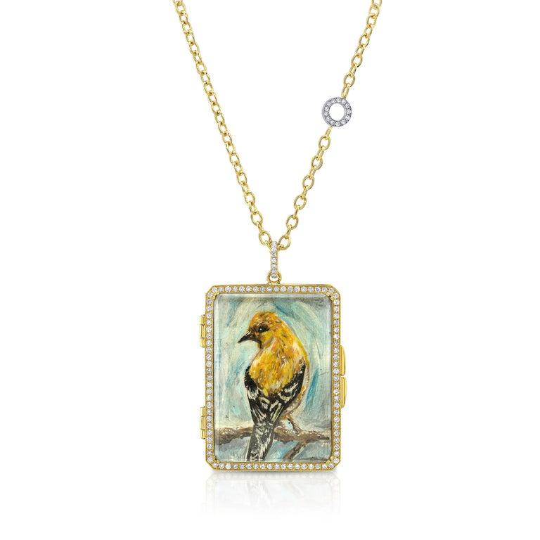 Contemporary Amy Y 18K Gold, Platinum, Diamond, Citrine, Enamel Bird Locket Pendant 'Olivia'  For Sale