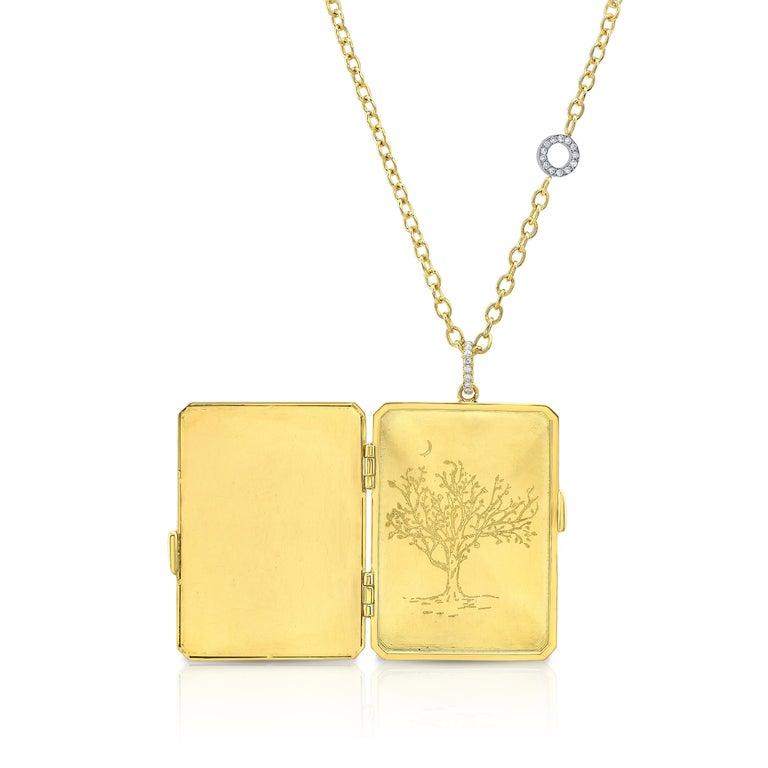 Amy Y 18K Gold, Platinum, Diamond, Citrine, Enamel Bird Locket Pendant 'Olivia'  In New Condition For Sale In Santa Monica, CA
