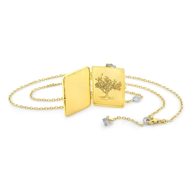 Women's Amy Y 18K Gold, Platinum, Diamond, Citrine, Enamel Bird Locket Pendant 'Olivia'  For Sale