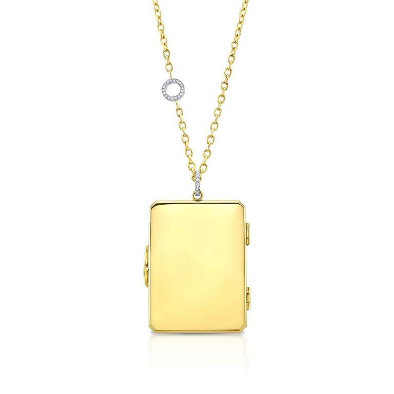 Amy Y 18K Gold, Platinum, Diamond, Citrine, Enamel Bird Locket Pendant 'Olivia'  For Sale 2