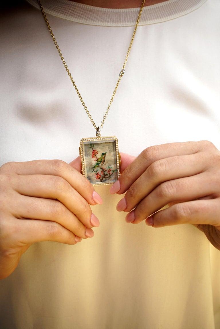 Amy Y 18K Gold, Platinum, Diamond, Citrine, Enamel Bird Locket Pendant 'Olivia'  For Sale 4