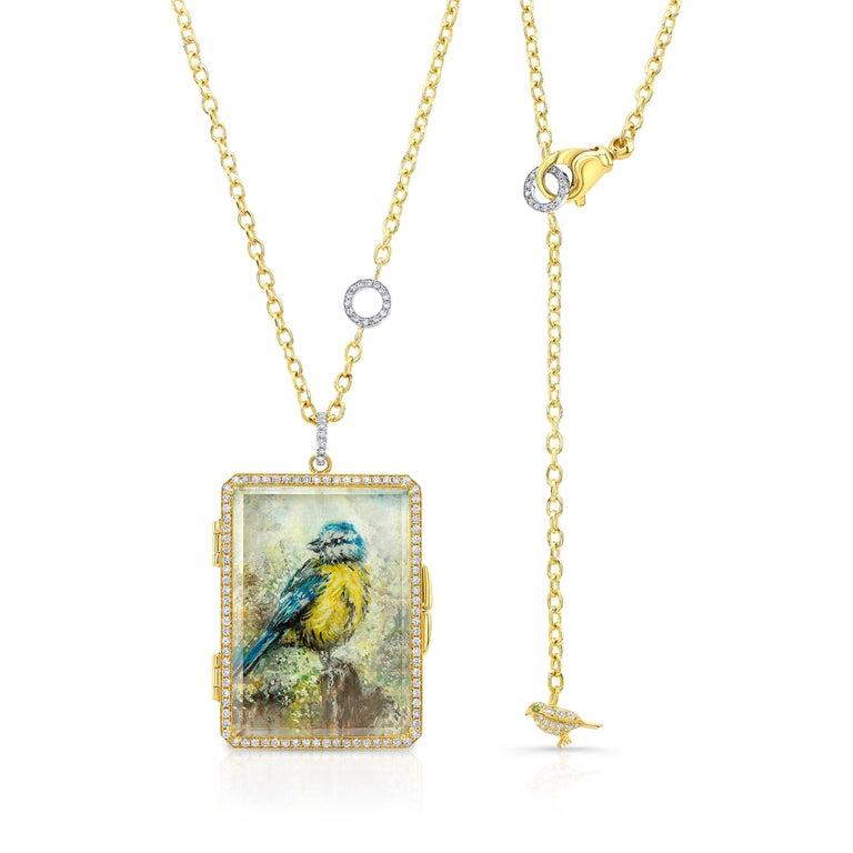 Round Cut Amy Y 18K Gold, Platinum, Diamond, Citrine, Enamel Bird Locket Pendant 'Olivia'  For Sale