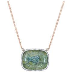 Amy Y 18K Gold, Platinum, Diamond, Topaz, Enamel Horse in Stone Pendant 'Wynne'