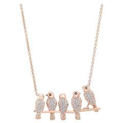 Amy Y 18 Karat Gold and Diamond Love Birds on a Vine Pendant Necklace 'Layla'