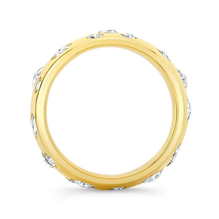 Amy Y's contemporary 18K-yellow gold and rose cut diamond designed comfort ring is a fresh approach to a centuries old tradition. Illuminated with brilliant rose cut diamonds set in polished gold is this one-of-a-kind treasure to represent a