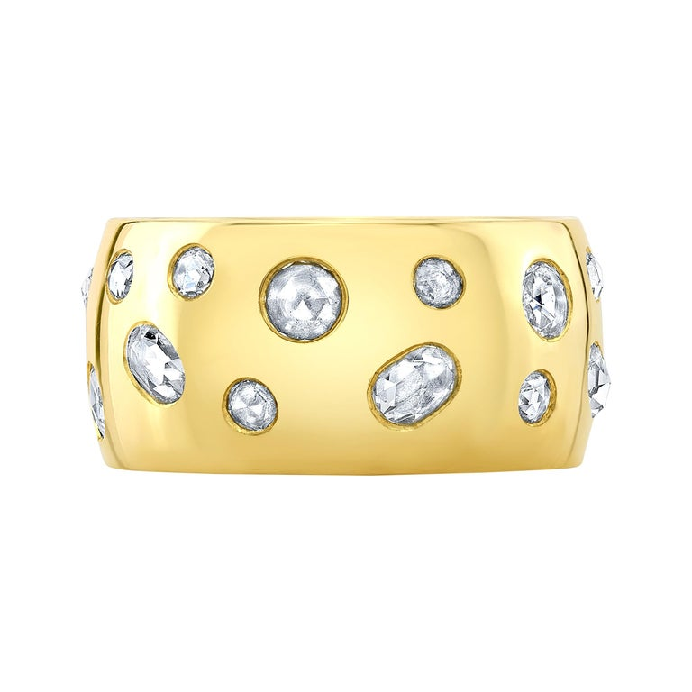 Amy Y 18K-Yellow Contemporary Gold and Rose Cut Diamond Comfort Ring 'Penelope' For Sale
