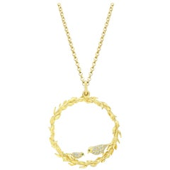 Amy Y 18 Karat Yellow Gold and Diamond Pendant Necklace 'Bird Wreath'