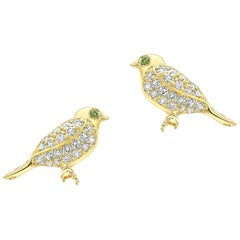 Amy Y 18 Karat Gold and Diamond 'Sweet Love Bird' Stud Earring 'Ava and Mia'