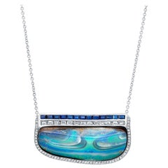 Amy Y 27.00ct. Boulder Opal, Diamond, Sapphire and 18K Gold Pendant Necklace