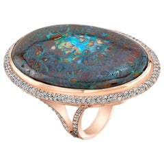 Amy Y 53.00ct, Australian Boulder Opal, Diamond and 18K-Rose Gold Ring 'Grace'