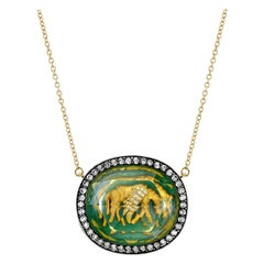 Amy Y Citrine, Diamond, Enamel, 18 Karat Gold Horse Pendant Necklace 'Pascal'