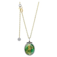 Amy Y Citrine, Diamond, Sapphire, 18K Gold, Platinum and Enamel Pendant Necklace