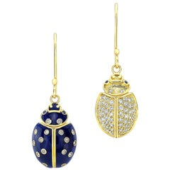 Amy Y Contemporary 18 Gold, Diamond and Enamel Ladybug Earring 'Ella and Levi'