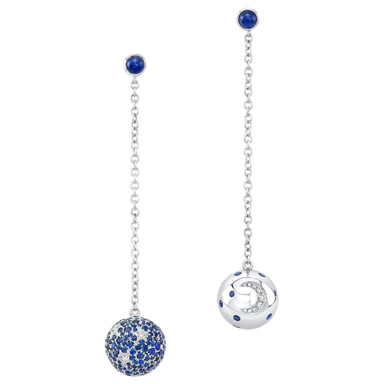 1dcc9d784fc9d Amy Y Contemporary 18 Karat Gold, Diamond, Sapphire Celestial Earrings  'Isaiah'