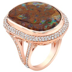 Amy Y Contemporary Designed Opal, Diamond and 18 Karat Rose Gold Ring 'Clara'